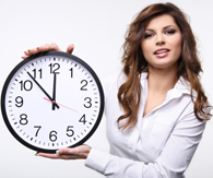 overtime pay - woman holding clock